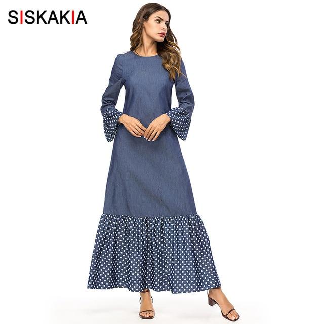 Siskakia אופנה פולקה נקודות טלאים נשים שמלות סתיו סתיו 2019 מקסי ארוך שמלת קצר אלגנטי מזדמן עירוני מוסלמי שמלה חדש