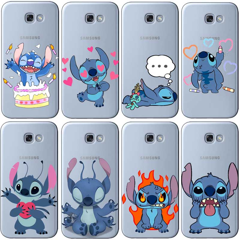 Inventive Cute Cartoon Stich Coque Soft Tpu Silicone Phone Case Cover For Samsung Galaxy A3 2016 A5 2017 A7 J3 J5 2015 J7 2017 Good Heat Preservation Phone Bags & Cases