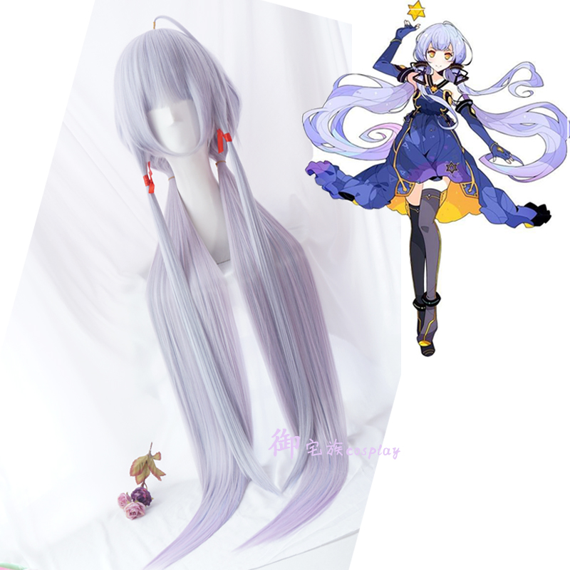Vocaloid Hatsune Stardust Straight Ponytails Anime Show Cosplay Wig Gradient Color ...