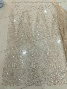 5yards/bag BZM0010 champange gold color hand  print glued glitter net mesh lace for sawing/lady dress