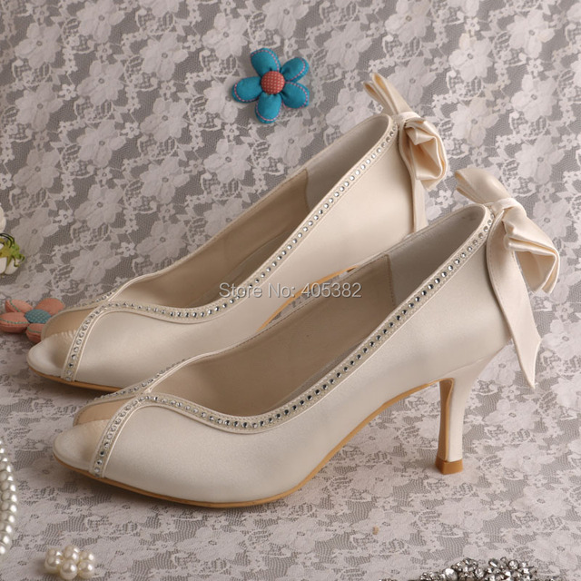 Wedopus MW502 Women s Evening Pumps Peep Toe High Heel Bows Satin Wedding  Bridal Shoes 87e5d233cee1