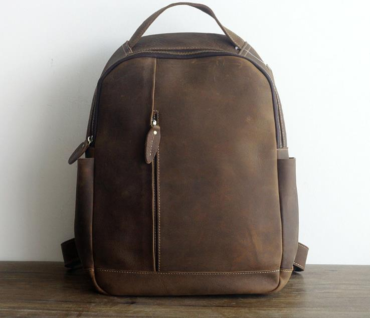 Genuine Leather Men Backpack Fashion Schoolbag Crazy Horse Leather Vintage Male Travel B ...