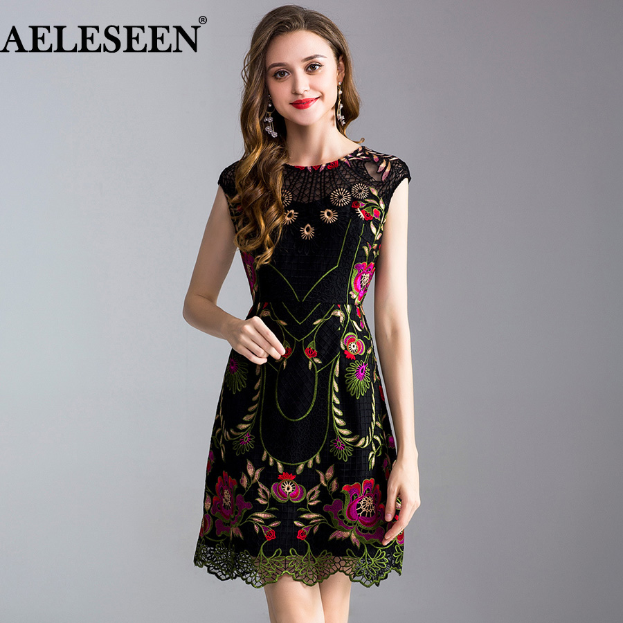 AELESEEN Women s Luxury Runway Dress 2019 Spring Summer Elegant Dress Flower Embroidery Hollow Out Plus