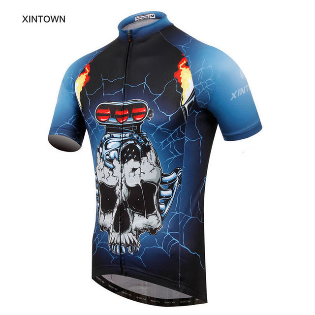 6bb97c34b Skull Style bike team sportswear mens Cycling jersey short sleeve bike  Clothing t-shirt tops for cycling sports Ropa Ciclismo