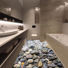 3D Dimensional Stone River Waterproof Floor Stickers Ground Bathroom Stickers Background Wall Home Decoration 50*70cm