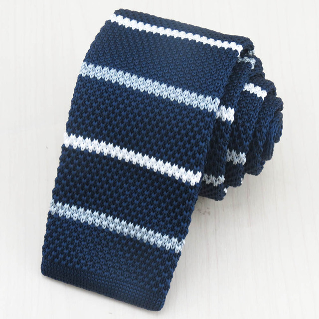 11070c3b491 Men s navy tie white horizontal stripes British style restoring ancient  ways knit necktie