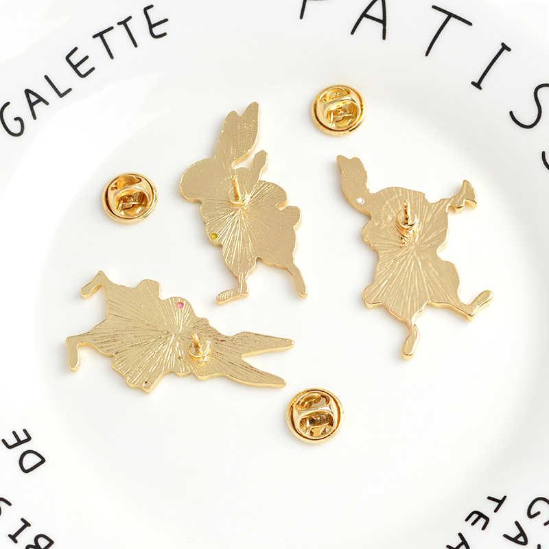 QIHE Perhiasan Hewan Set Pin Kucing Anjing Panda Burung Penguin Rubah Kelinci Enamel Pin Lucu Kerah Pin Kawaii Bros Perhiasan Hewan