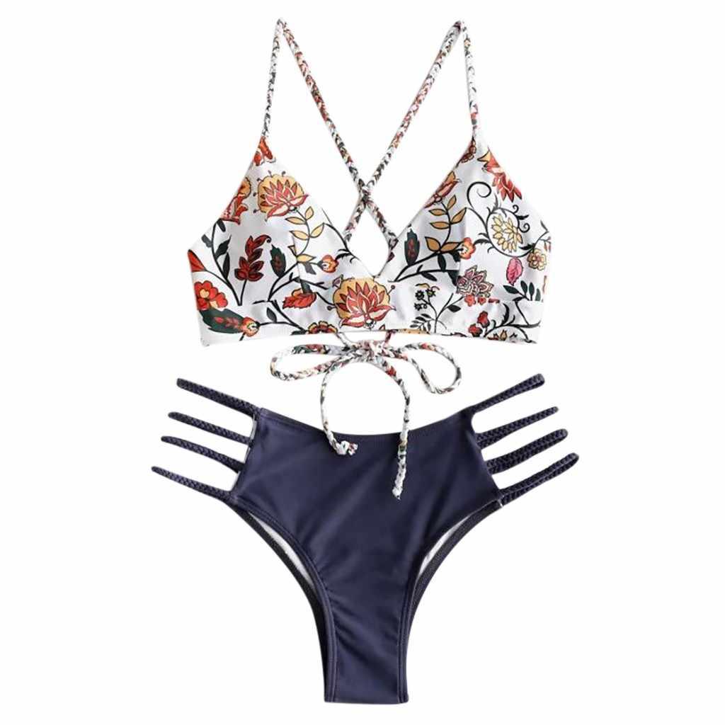 Miyouj Leher Tinggi Bikini Bunga Swimsuit Melubangi Pakaian Renang Wanita Cross String Biquinis Feminino 2019 Bikini