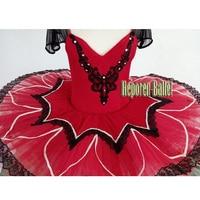 Customized Woman Red Ballet Tutu Dresses Flower Ballet Tutus Opera Pancake Tutu Fire Bird Ballet Solo