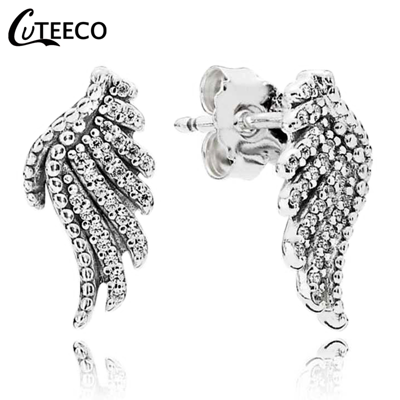 CUTEECO Silver Color Feather Fairy Wings Stud Earrings Copper Plated Fits Brand for Women Fashion Jewelry
