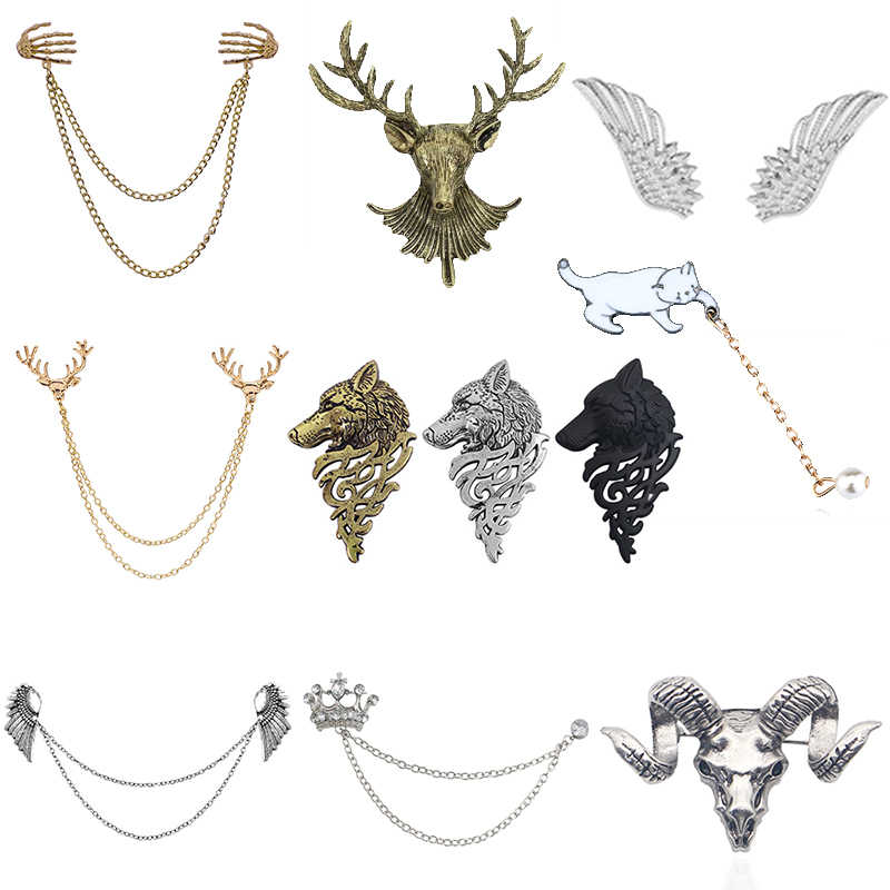 2017 Vintage Craved Triangular Brooch Pin For Women Men Multiple Layers Chain Wing Crown Cross Skull Brooches Pins Shirt Collar