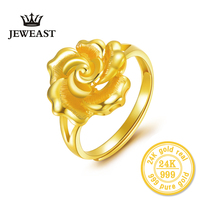24K Gold Rings Roses Female Flower Pure Solid Real AU 999 Fine Jewelry 2018 New Hot Sale Party Trendy Good Nice Top Women Girl