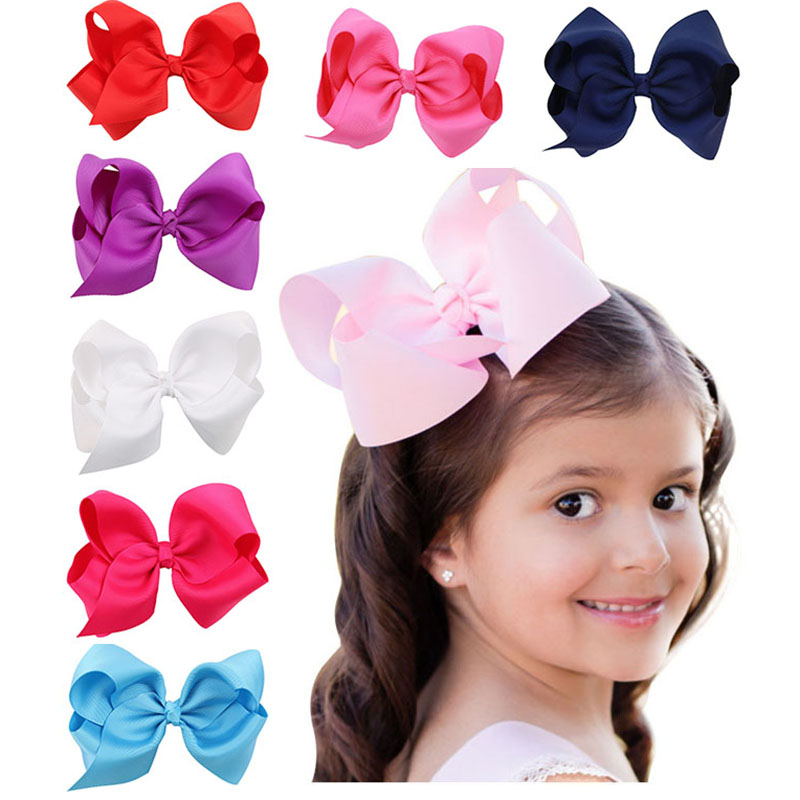 1pcs 4.7 New Big Hair Clips Boutique Kids' Hairpins Headwear With Ribbon Bows For Girls Babies Barrettes Children Accessories crystal acrylic beads hair clips hairpins for girls headwear hair accessories barrettes for ladies