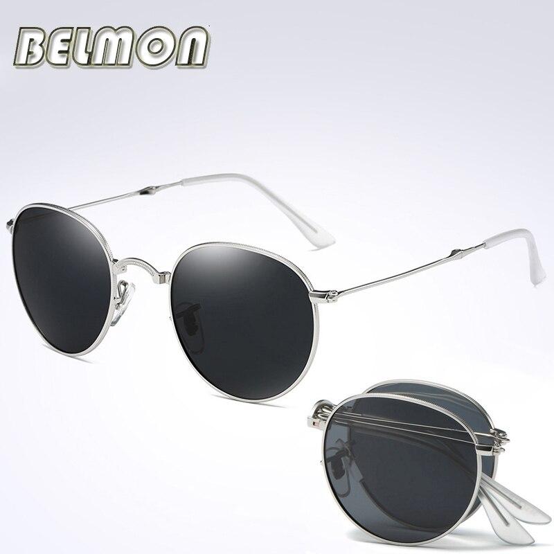 Mode de Pliage lunettes de Soleil Polarisées Hommes Femmes Vintage Marque  Designer Ronde Pliable Soleil Lunettes Homme Femme RS078 33e11920b727