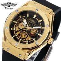 WINNER Top Luxury Brand Men Automatic Mechanical Watch Golden Metal Series 3D Bolt Skeleton Dial Rubber