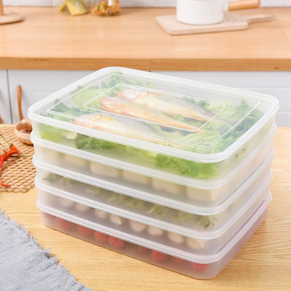 Réutilisable Cuisine Réfrigérateur En Plastique Alimentaire Boîtes De Rangement Des Conteneurs Légumes Fruits Organisateur Boîte Avec Couvercles Cuisine Accessoires