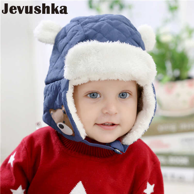 be65fc34a4c Winter Baby Hat Bomber Cap Newborn Boy Hats Warm Fleece Kid Hat for Boys  and Girls