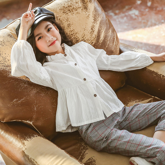 Girls Clothing Sets Suit For Girls Outfits Tops Blouse + Pants Stylish Gentle Teenager Girl Clothes Teen Korean Spring Fashion