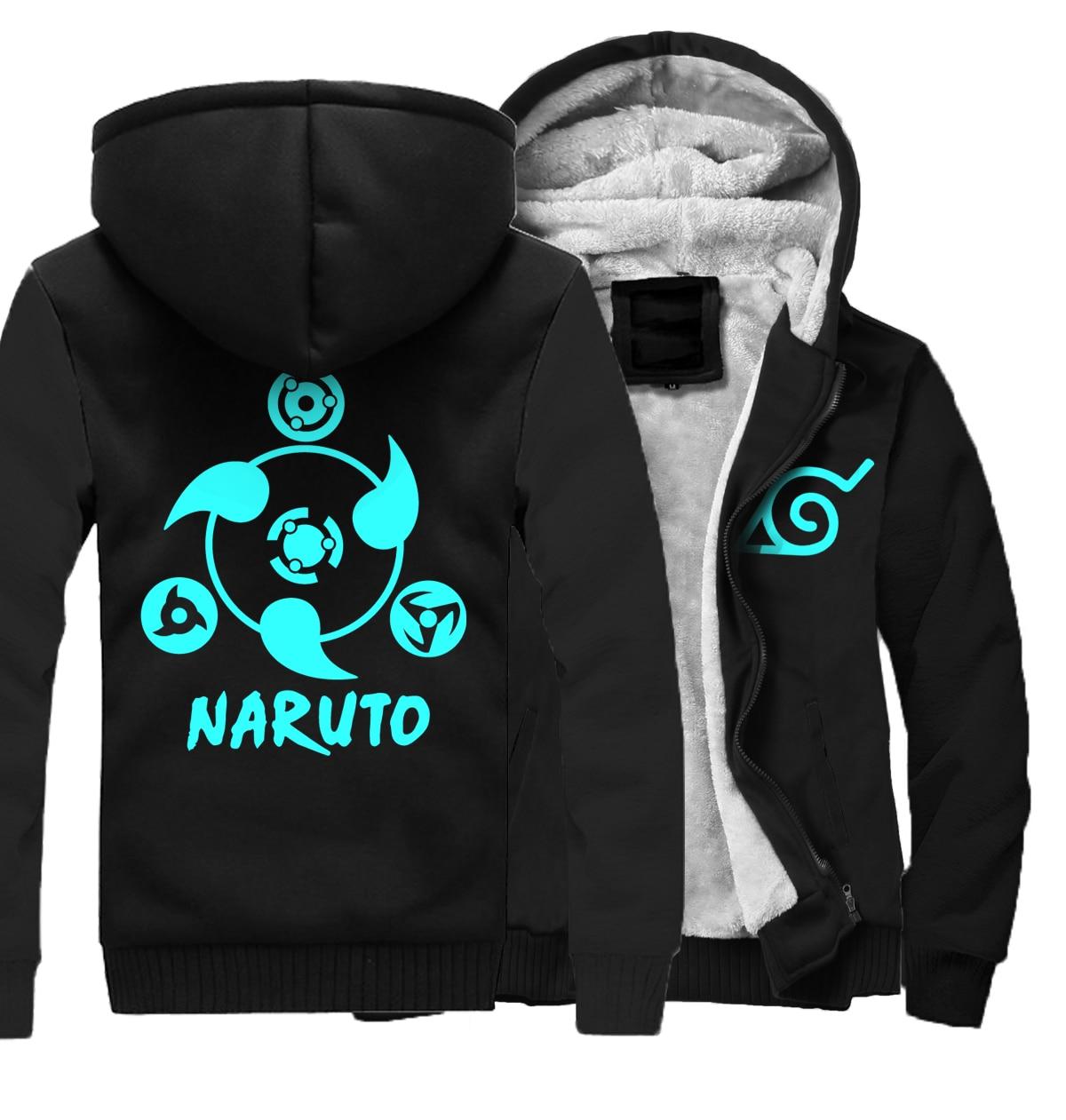 Hoodies noctilucous 2019 top tracksuits Naruto Thick Zipper cartoon Jacket fashion Men wool liner Sweatshirts Camouflage sleeve