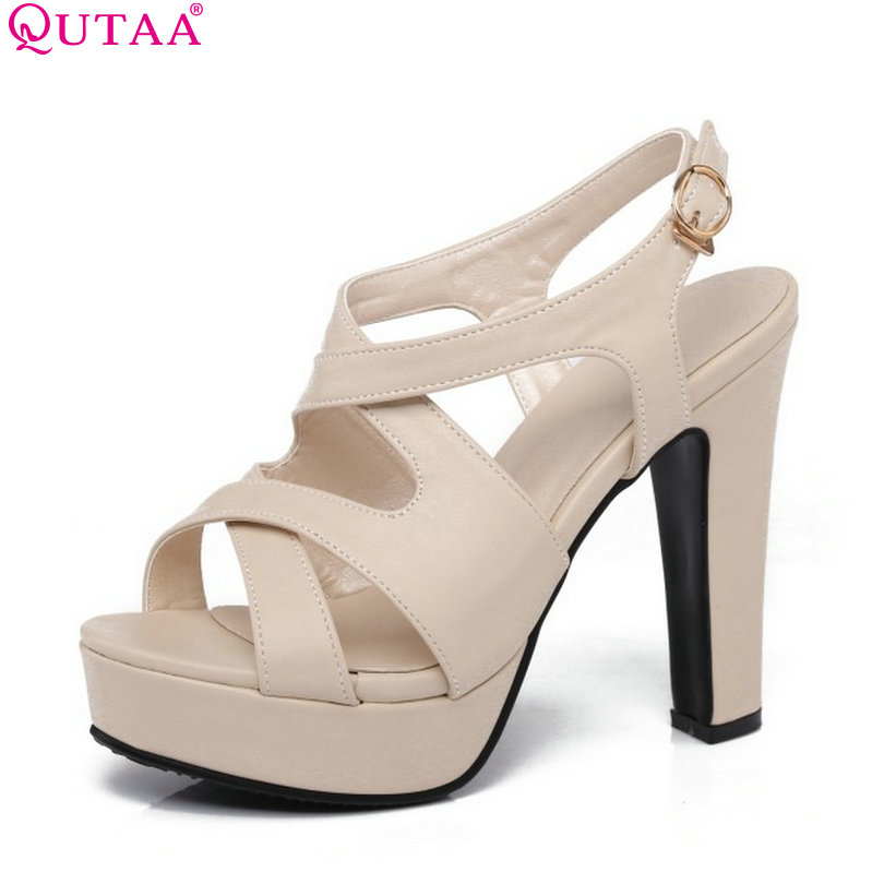 4f380a52745 QUTAA 2017 Women Sandal High Heel Platform Women Shoes Slingback Peep Toe  PU Leather Buckle Ladies