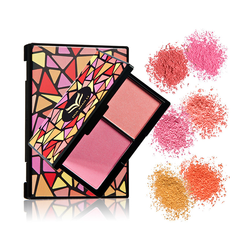HUAMIANLI Geometric Figure Double Blushers Makeup Cosmetic Natural Baked Blush Powder Brozer Palette Charming Make Up