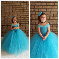 Turquoise blue Glittery Kids Girl Dress Wedding Party Photograph V Shaped Girls Tutu Dress for Party Spark Tulle Girls Clothes