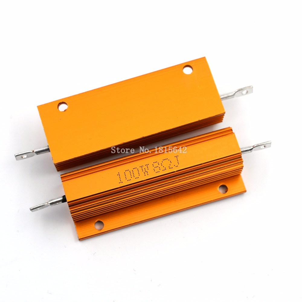 RX24 100W 8R 8RJ 100 Watt Metal Shell Aluminium Gold Resistor High Power Heatsink Resistance Golden Heat Sink Resistor 8 Ohm