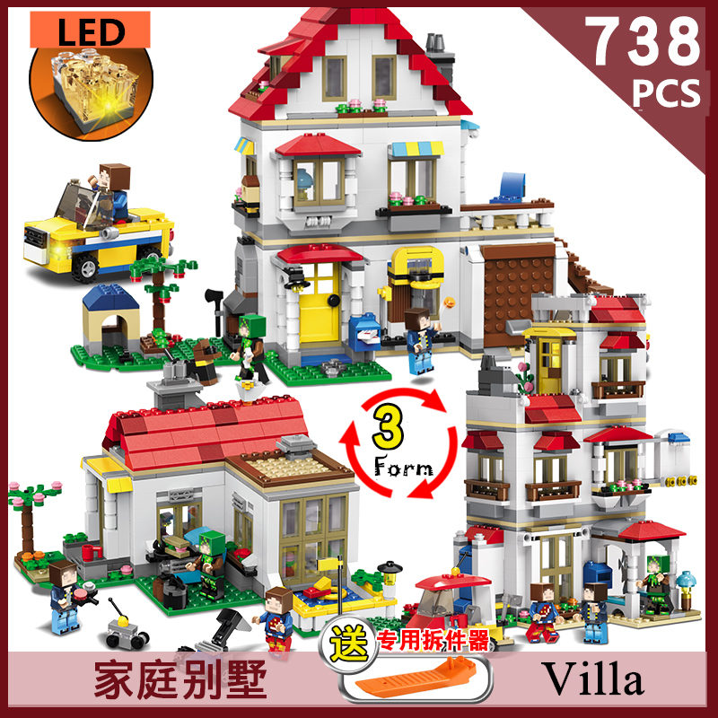 все цены на Qunlong Block building 33077 villa with mini figures Ninjago Dragon Compatible Legoed Bricks toys for Kids онлайн