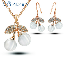 MOONROCY Free Shipping Rose Gold Color Cherry Cubic Zirconia Crystal Opal Jewelry Set Necklace and Earrings