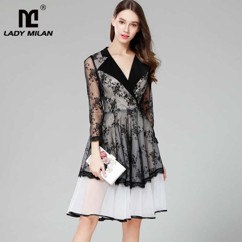 New Arrival 2019 Spring Women s Sexy V Neck Long Sleeves Embroidery Lace Patchwork Ruffles Elegant