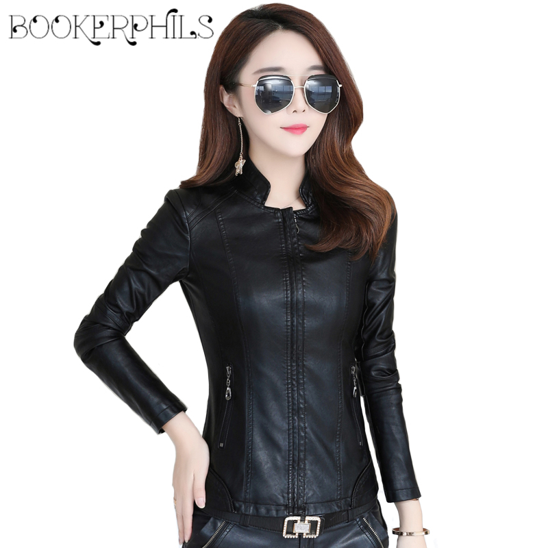 2019 New Fashion Casual Motorcycle Faux Soft Leather Jackets Female Winter Autumn Plus Size Black Slim