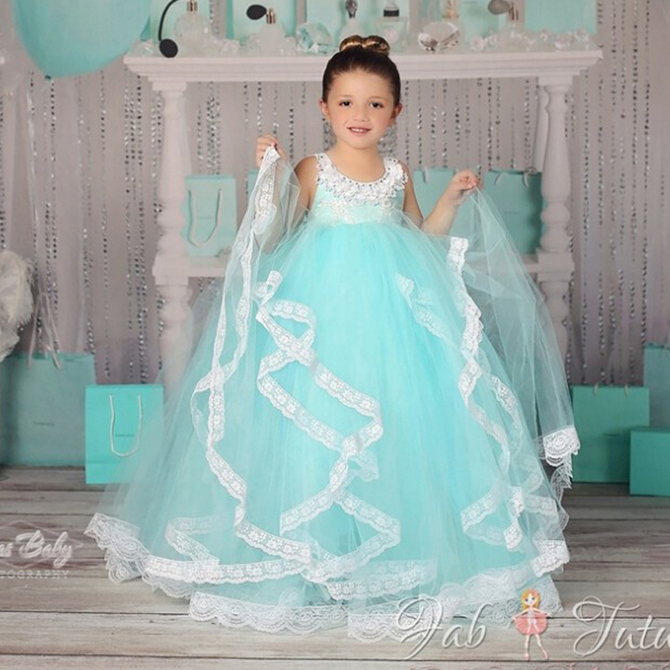 Blue White Ankle Length Party LaceTulle Cute andFantastic Sleeveless Solid Flower Girl Dresses for Weddings Mesh Ball Gown  2016Blue White Ankle Length Party LaceTulle Cute andFantastic Sleeveless Solid Flower Girl Dresses for Weddings Mesh Ball Gown  2016