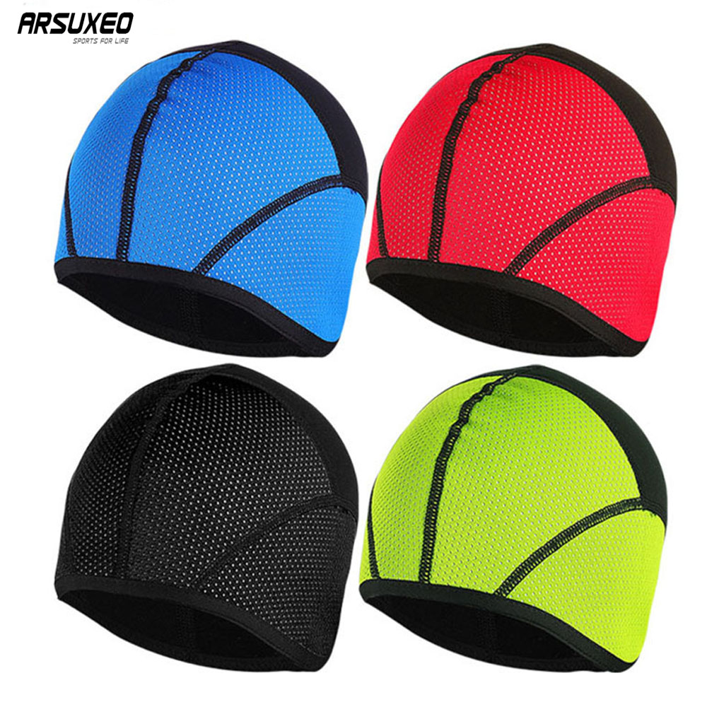 ARSUXEO Winter Warm Up Thermal Fleece Cycling Caps MTB Bike Bicycle Windproof Waterproof Hats Sports Running Caps PT02