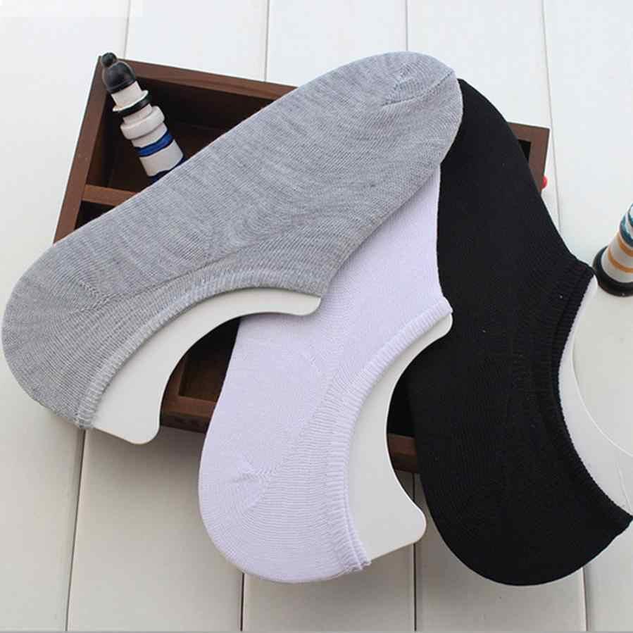 Mans Chaussettes 2018 nouvelle mode bouche peu profonde invisible bateau coton Chaussettes glissantes doux confortable off blanc Chaussettes harajuku # F
