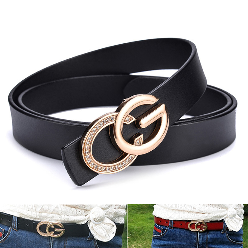 Luxury Narrow Double G Designer   Belts   Lady High Quality Women Girl Genuine Real Leather GG Buckle Strap for Jeans 2.3cm wide