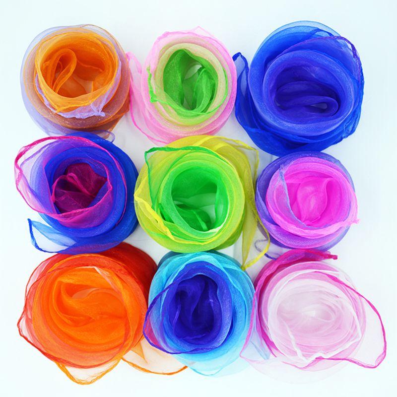 Children Shimmer Gradient Colored Square Scarves Kindergarten Performance Dance Juggling Movement Shawl Headwrap Kerchief Props