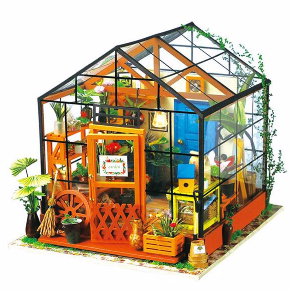 LED Miniature Doll House Wooden Dollhouse Miniature 3D Garden Puzzle Toy DIY Model Kits Sweet Greenhouse Model With Light diy wooden handcraft miniature provence dollhouse voice activated led light