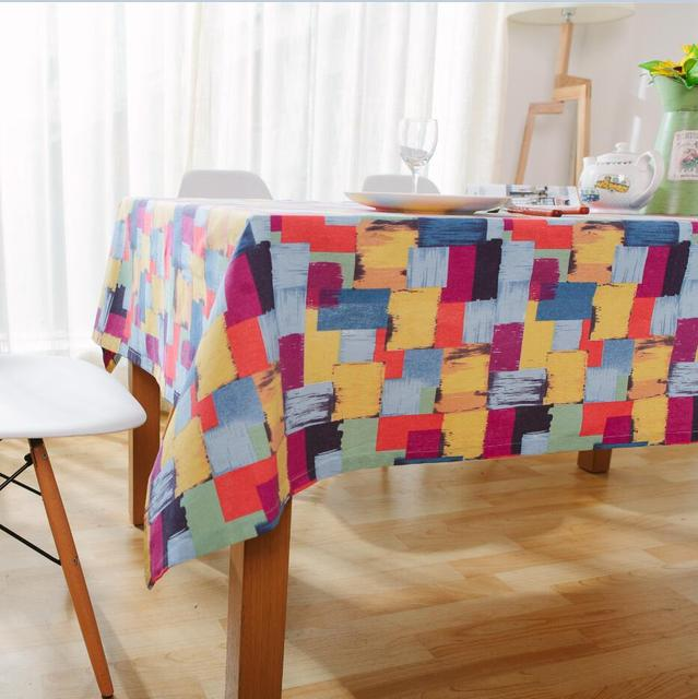 [Slow Soul] American Style Tablecloth Colorful Plaid Printed Graffiti Table  Cloth Rectangular Toalha De