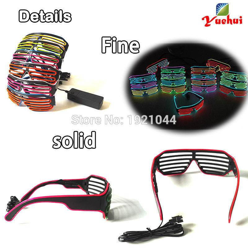 Colorful Fashion EL Wire Fashion LED Neon Lighting Flash Shutter Shaped Glasses with 3V Inverter for Festival Party Decoration