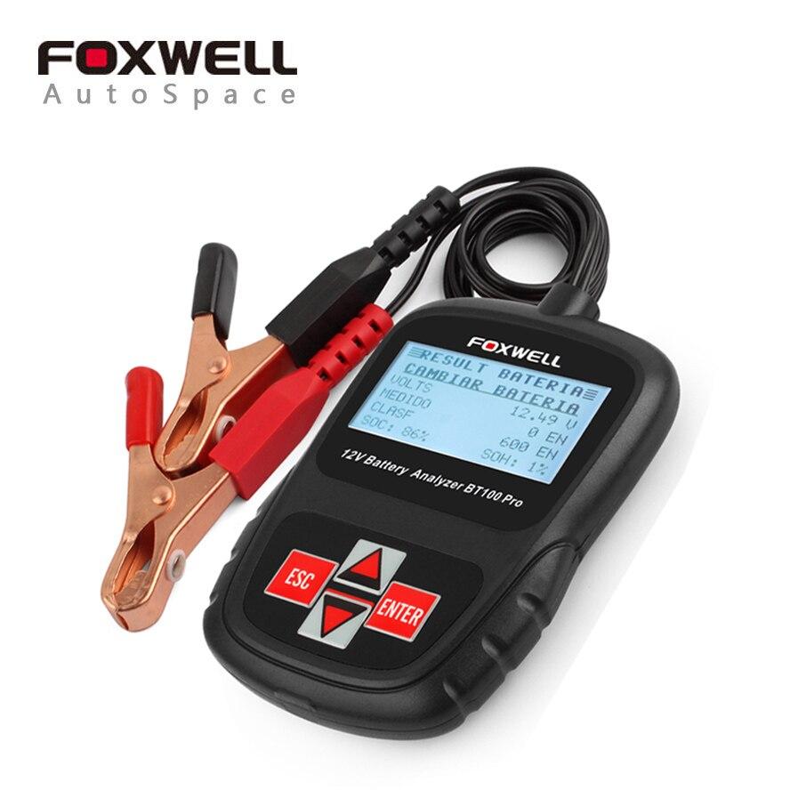 Цена за Новый оригинальный foxwell bt-100 pro car 12 В 1100cca батареи анализатора тестера инструмент система зарядки нагрузки температура испытания bt100 12 вольт