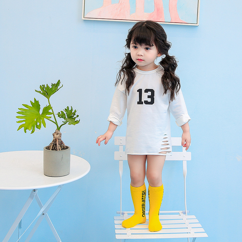 Children Knee Socks Made By Pure Cotton With Beautiful Color And Letters Great Sports Casual Socks For 1-9T Boys And Girls 2