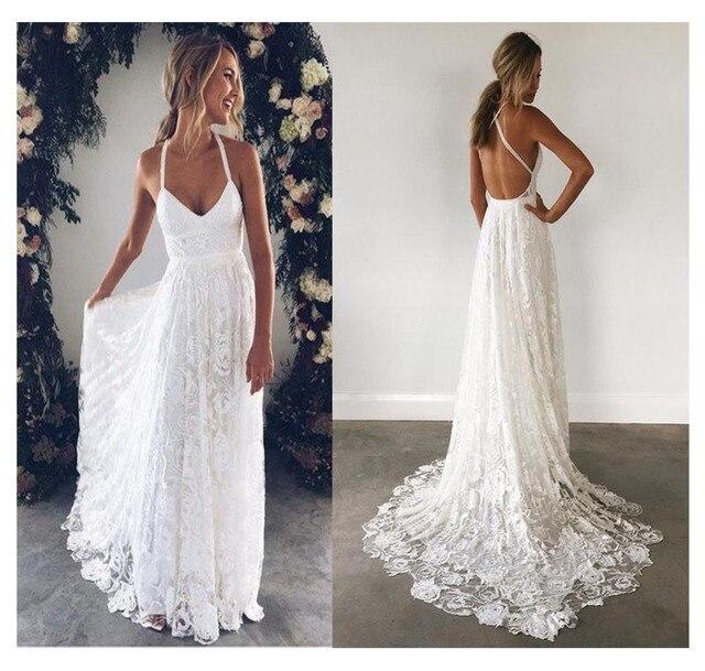 LORIE Halter ลูกไม้ชุดแต่งงานชายหาด 2019 Elegant Line Backless ความยาวสีขาวงาช้างลูกไม้ชีฟองกับ Sashe เจ้าสาวชุด