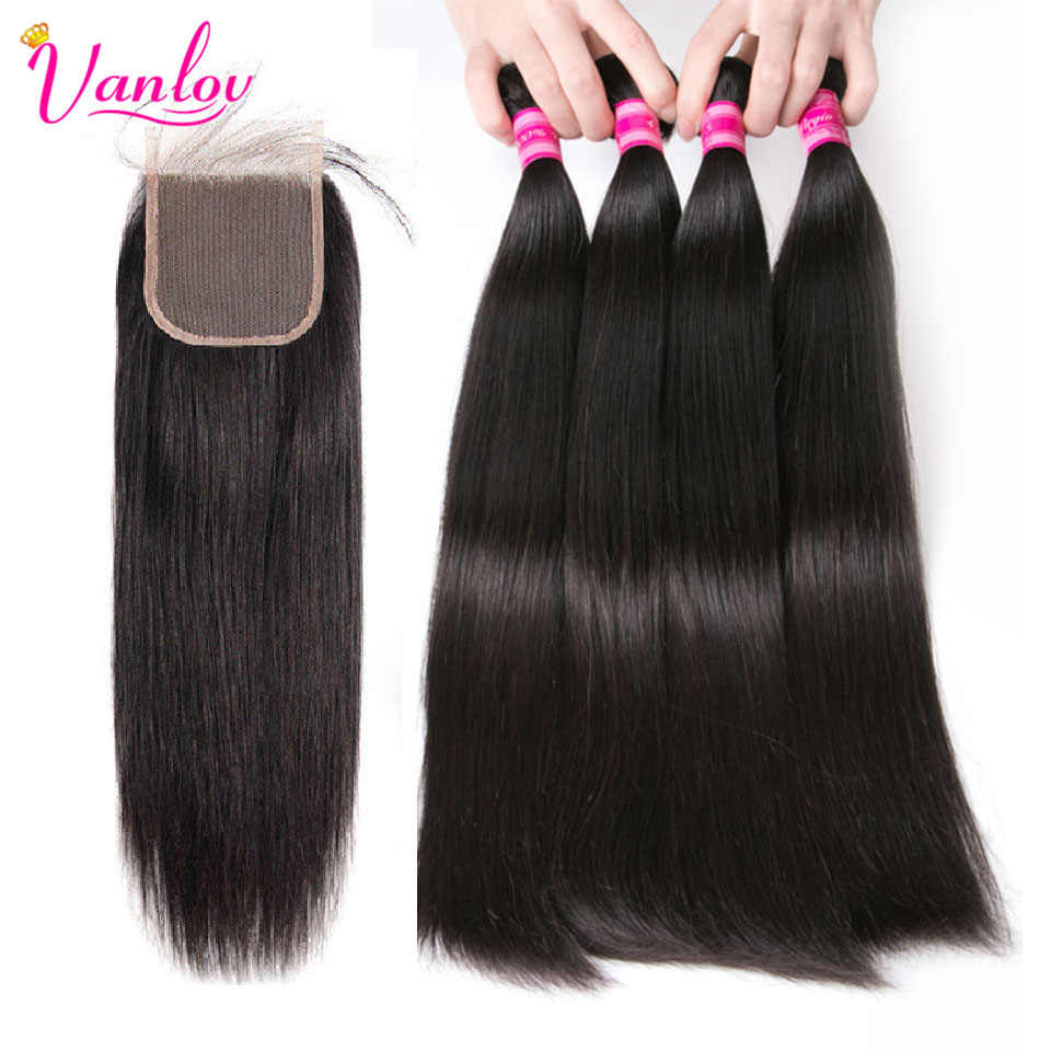 Vanlov Brazilian Straight Hair 4 Bundles With Closure Remy Human Hair Extension Jet Black Natural Black Brazilian Hair Weave