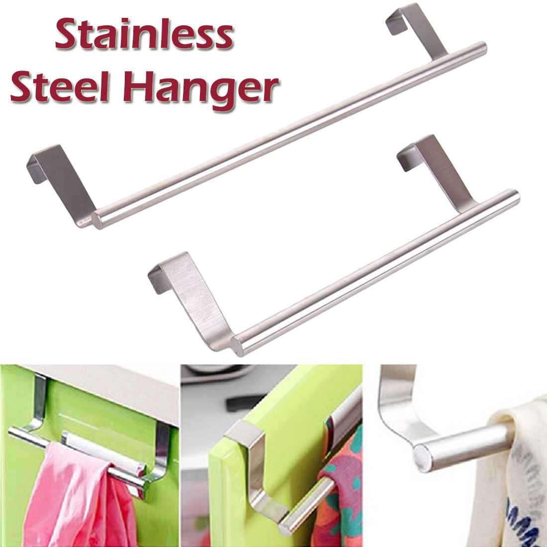 Stainless Steel Towel Bar with Hooks Hangs Inside or Outside Cabinet Doors Towel Holder for Bathroom and Kitchen H.E