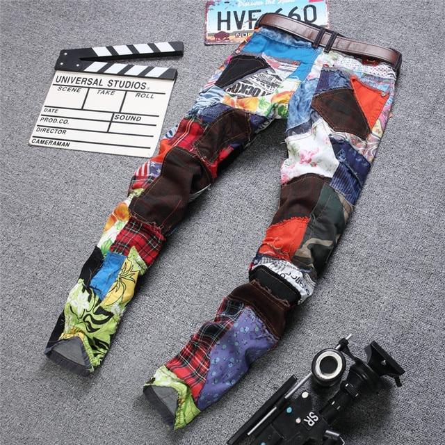 Colorful Jeans Men Denim Pant Patch Jeans Slim Fit Fashion Designer Jeans Fashion Show Jeans Denim Men 2