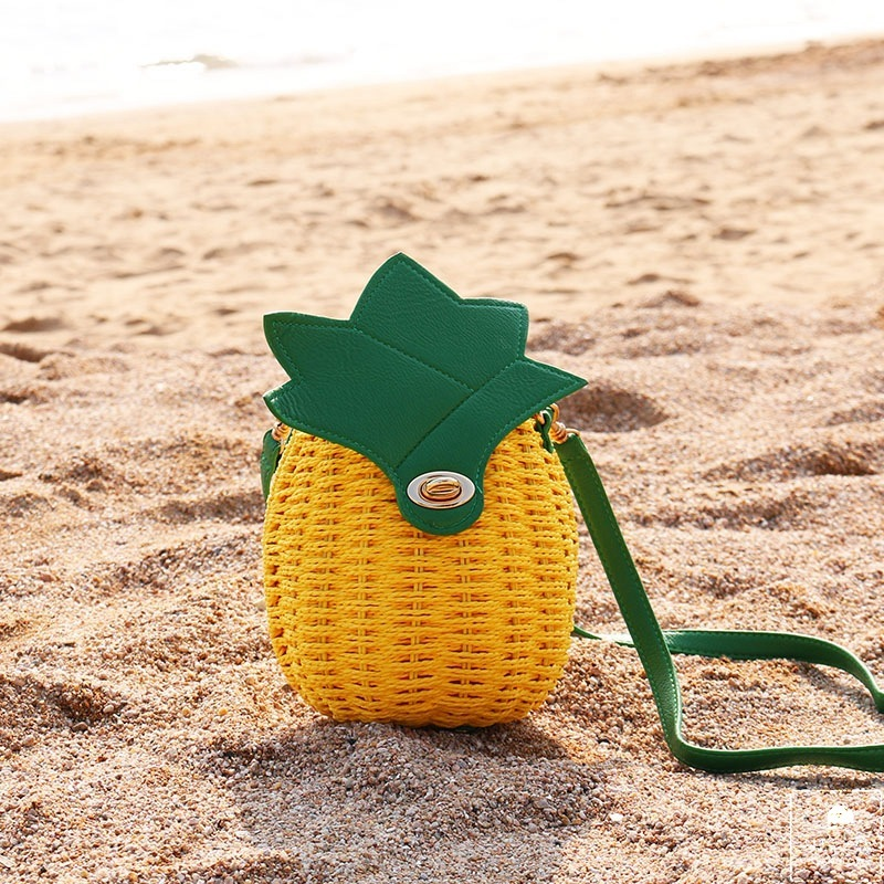 Fashion Portable Pineapple Fruits Straw package Travel Sunshine Beach bag tpu band with white round dot for xiaomi miband 1s