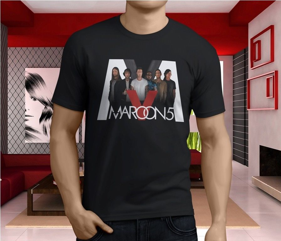 Logo T Shirts Graphic Crew Neck Maroon 5 Five Pop Rock Band Size S-4Xl Short-Sleeve T Shirts For Men