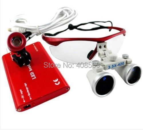 2015 Brand New Red Dental Equipment Surgical Medical Dental Loupes 3.5X 420mm + LED Head Light Lamp Dental Lab SY-10 Top Selling