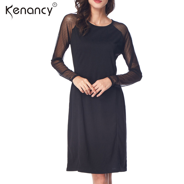 Kenancy Sexy See-through Splicing Black Lace Dress Women Long Sleeve  Knee-Length Vestidos Simple   High Quality 92d3aec3a5d5