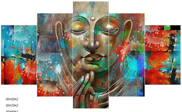 5 Panel Canvas Art Modern Wall Picture Home Decor Buddha Painting HD  Posters And Prints Living Part 58